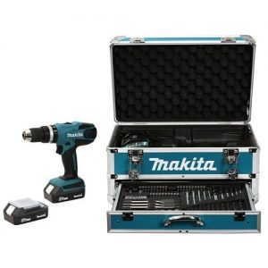 Makita HP457DWEX4 Perceuse visseuse à percussion en mallette en Alu avec 2 batteries 2