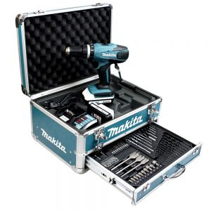 Makita HP457DWEX4 Perceuse visseuse à percussion en mallette en Alu avec 2 batteries